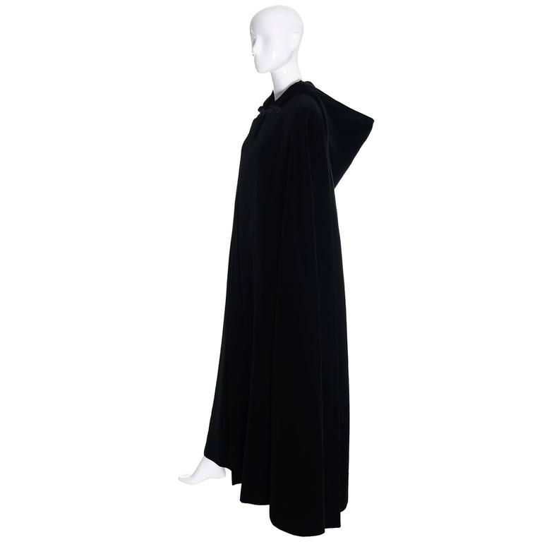YSL Yves Saint Laurent Rive Gauche Vintage Opera Cape Hooded Black Velvet 7