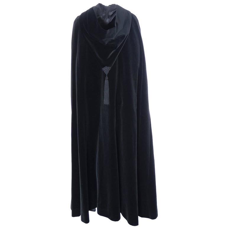 YSL Yves Saint Laurent Rive Gauche Vintage Opera Cape Hooded Black Velvet 6