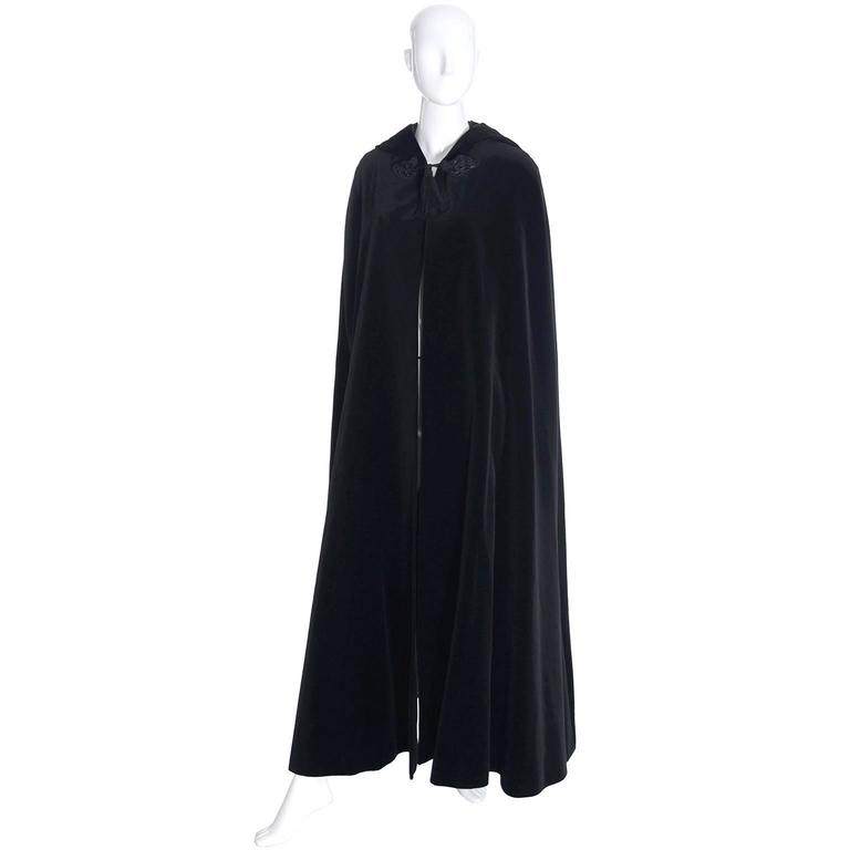 YSL Yves Saint Laurent Rive Gauche Vintage Opera Cape Hooded Black Velvet 2