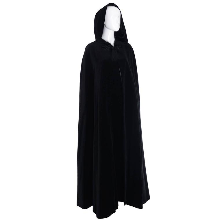 YSL Yves Saint Laurent Rive Gauche Vintage Opera Cape Hooded Black Velvet 1