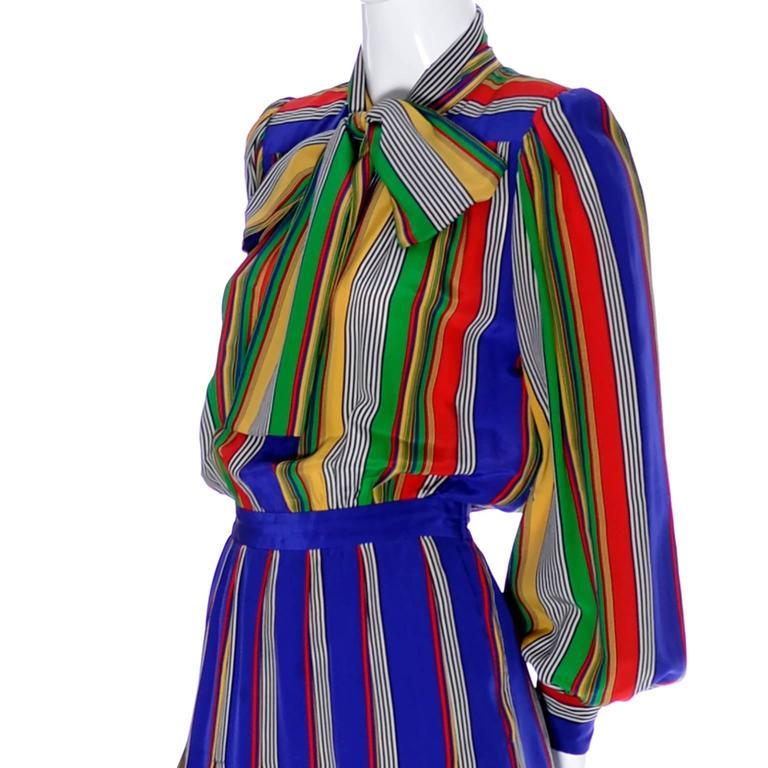 Purple Vintage Ysl Rive Gauche Silk Dress Stripes Yves Saint Lau Paris 36 Bow For