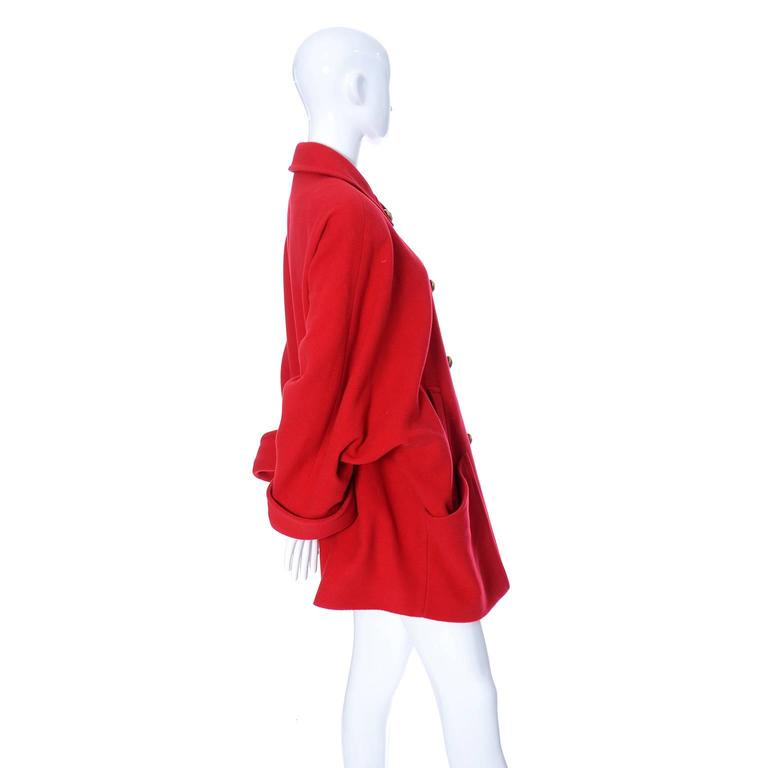 Guy Laroche Boutique 1980s Vintage Coat Red Wool Brass Buttons Dolman Sleeves For Sale 3