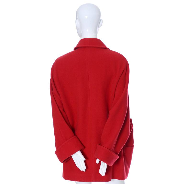 Guy Laroche Boutique 1980s Vintage Coat Red Wool Brass Buttons Dolman Sleeves For Sale 4