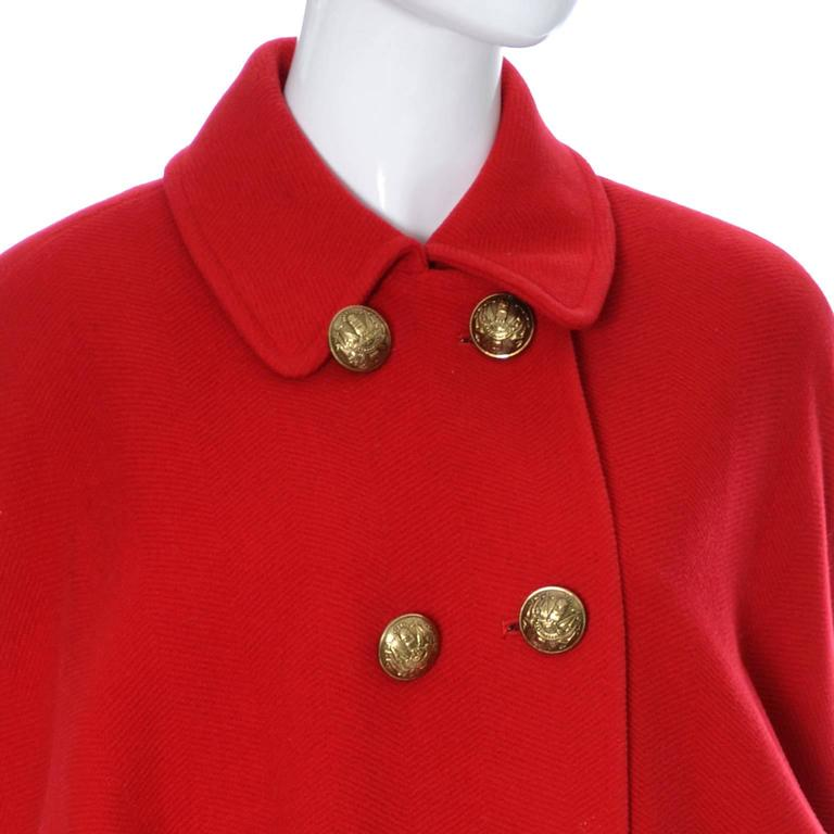 Guy Laroche Boutique 1980s Vintage Coat Red Wool Brass Buttons Dolman Sleeves In Excellent Condition For Sale In Portland, OR