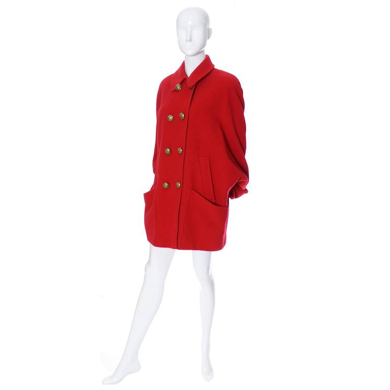 Women's Guy Laroche Boutique 1980s Vintage Coat Red Wool Brass Buttons Dolman Sleeves For Sale