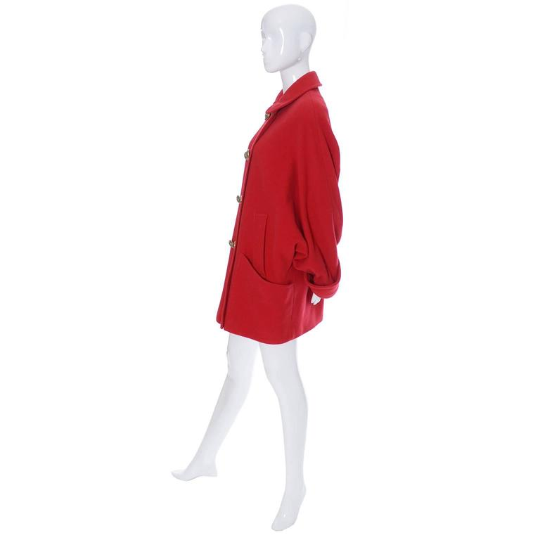Guy Laroche Boutique 1980s Vintage Coat Red Wool Brass Buttons Dolman Sleeves For Sale 1
