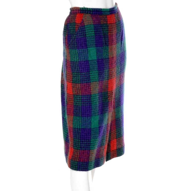 Missoni Vintage Skirt In Red Green Blue Plaid Wool From Neiman