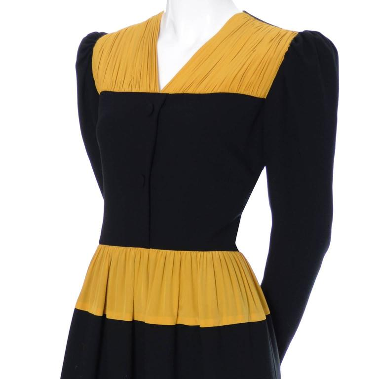 Vintage Carolina Herrera Pleated Wool Crepe Dress Pleated Marigold Silk 4