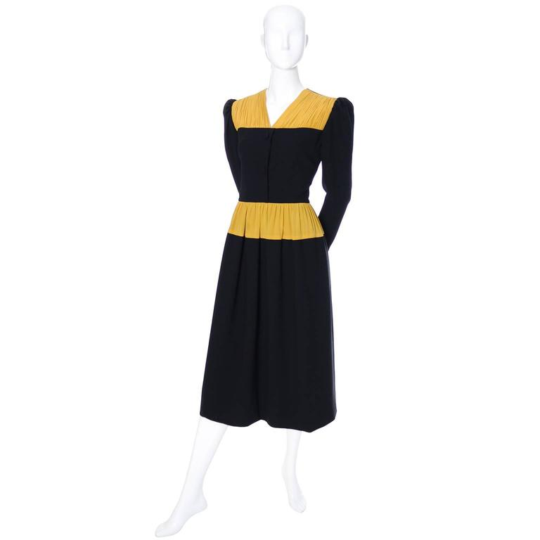 Vintage Carolina Herrera Pleated Wool Crepe Dress Pleated Marigold Silk 2