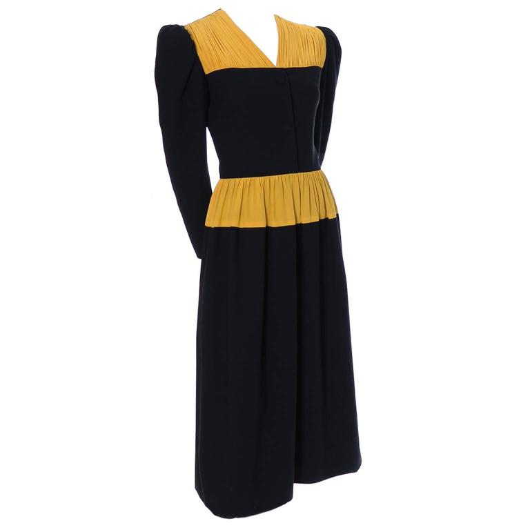 Vintage Carolina Herrera Pleated Wool Crepe Dress Pleated Marigold Silk 3