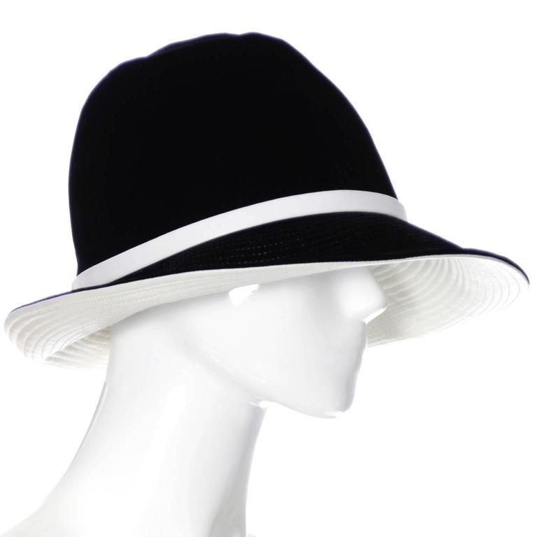 Mr. John 1960s Black Velvet Vintage Hat White Leather Trim Hat Pin I Magnin 2