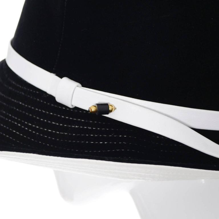Mr. John 1960s Black Velvet Vintage Hat White Leather Trim Hat Pin I Magnin 6