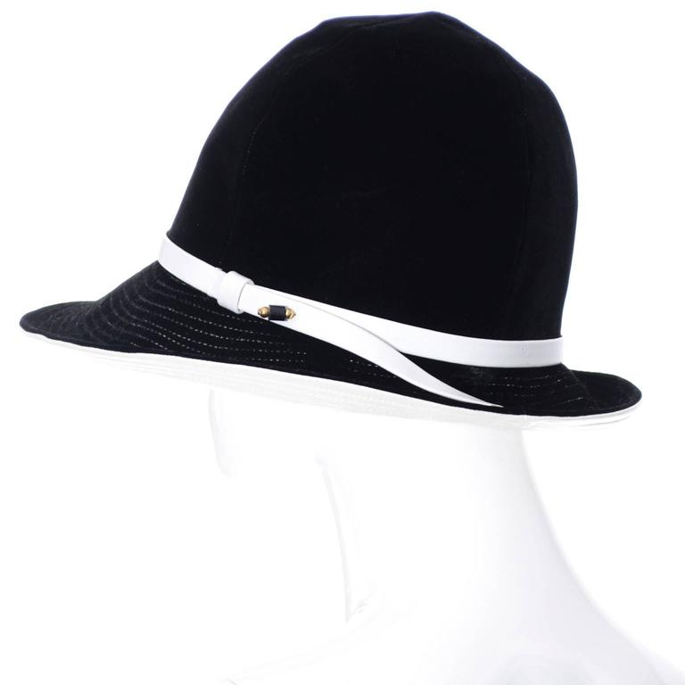 Mr. John 1960s Black Velvet Vintage Hat White Leather Trim Hat Pin I Magnin 5