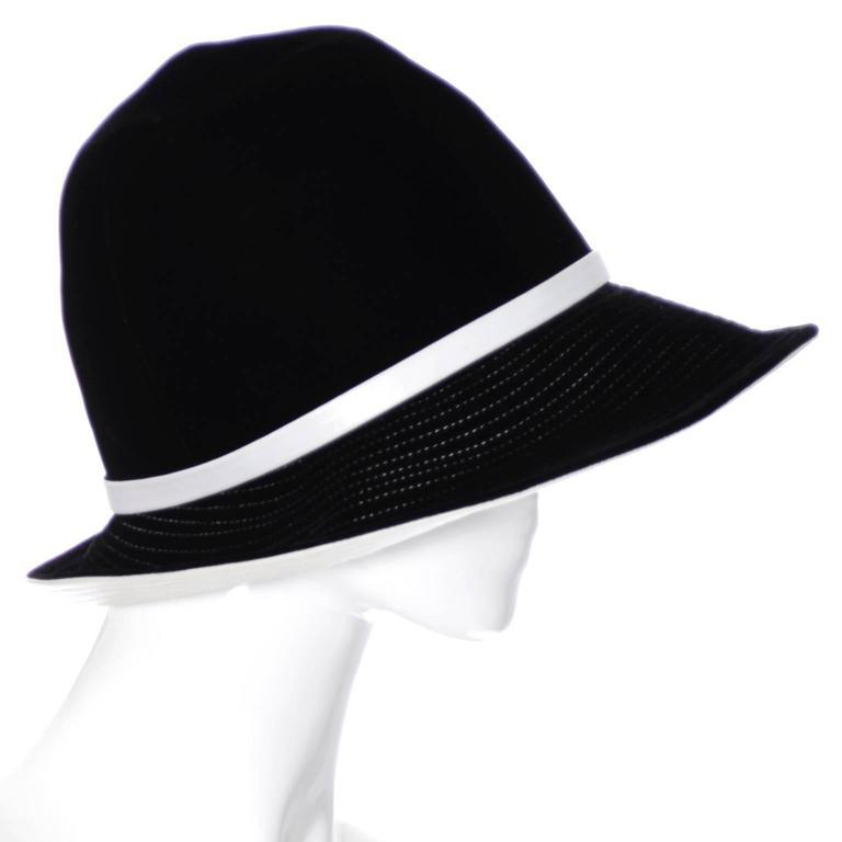 Mr. John 1960s Black Velvet Vintage Hat White Leather Trim Hat Pin I Magnin 3