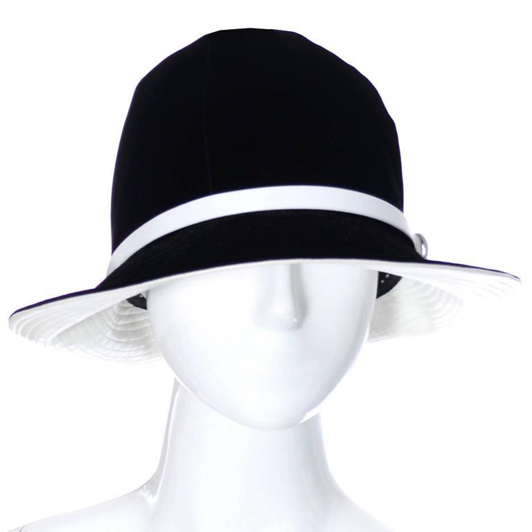Mr. John 1960s Black Velvet Vintage Hat White Leather Trim Hat Pin I Magnin 4