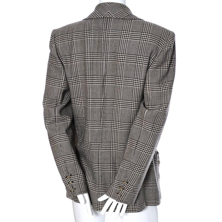 1980s Valentino Boutique Vintage Plaid Wool Blazer Jacket Metal Rings In Excellent Condition For Sale In Portland, OR