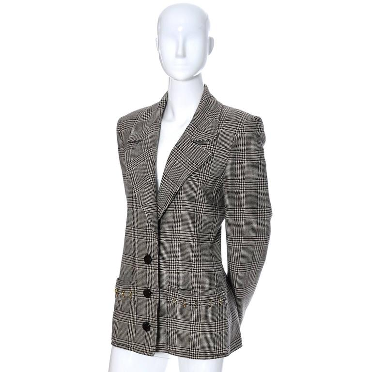 Gray Valentino Boutique Vintage Plaid Wool Blazer Jacket with Metal Rings For Sale
