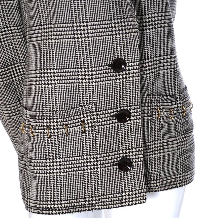 Women's Valentino Boutique Vintage Plaid Wool Blazer Jacket with Metal Rings For Sale