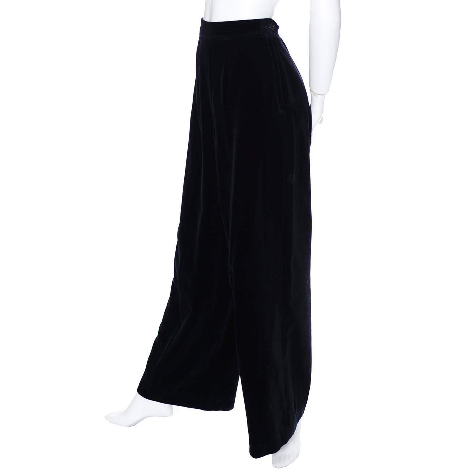 5298eb9b540 Vintage YSL Pants Black Velvet High Waisted Wide Saint Laurent Evening  Trousers For Sale at 1stdibs