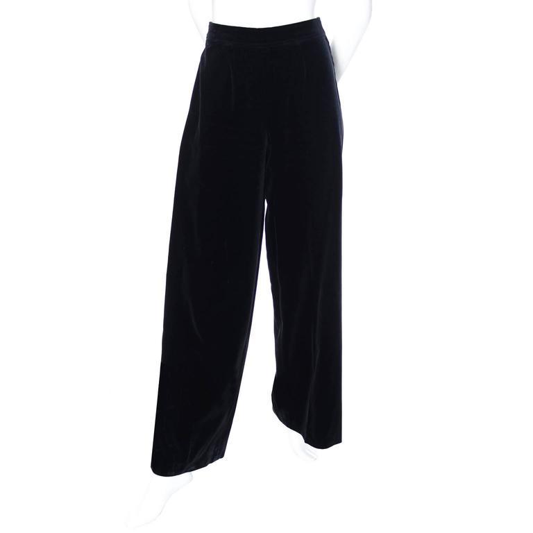 Vintage YSL Black Velvet High Waisted Wide Leg Evening Pants  2