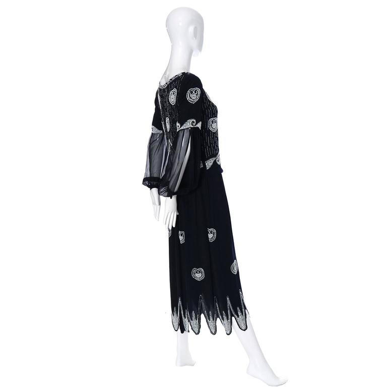 Art Deco 1920s Beaded Black Vintage Dress W/ Handkerchief Hem & Sheer Sleeves In Excellent Condition For Sale In Portland, OR