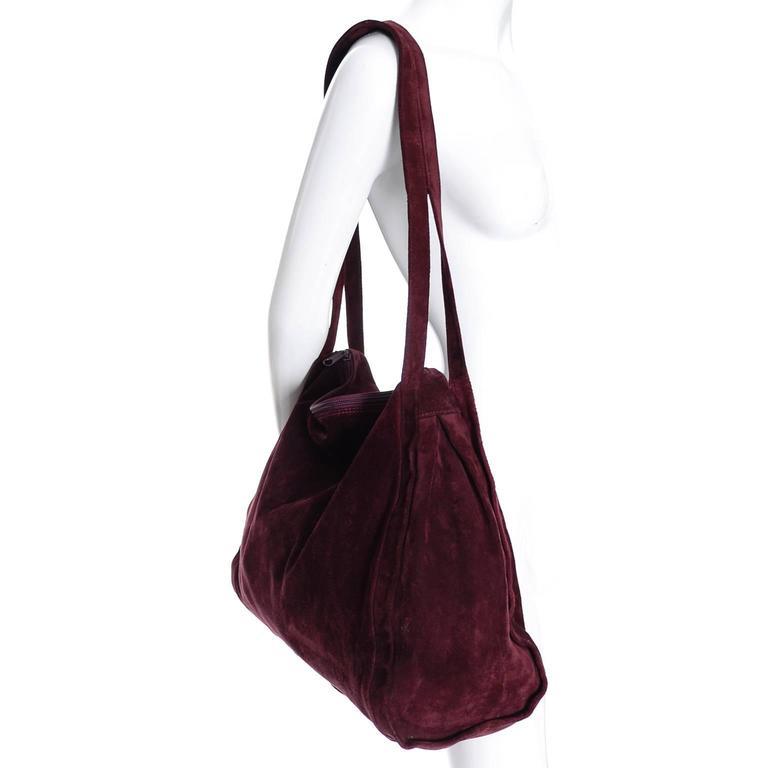 Donna Karan New York Vintage Handbag Suede Burgundy Large Bag In Excellent Condition For