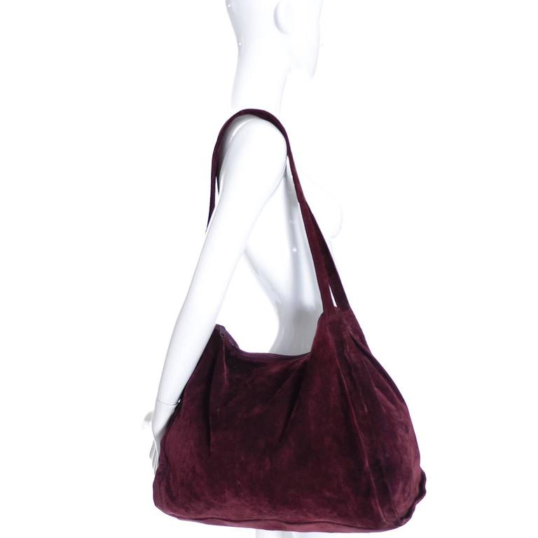 Well-known Donna Karan New York Vintage Handbag Suede Burgundy Large Bag at  SQ31