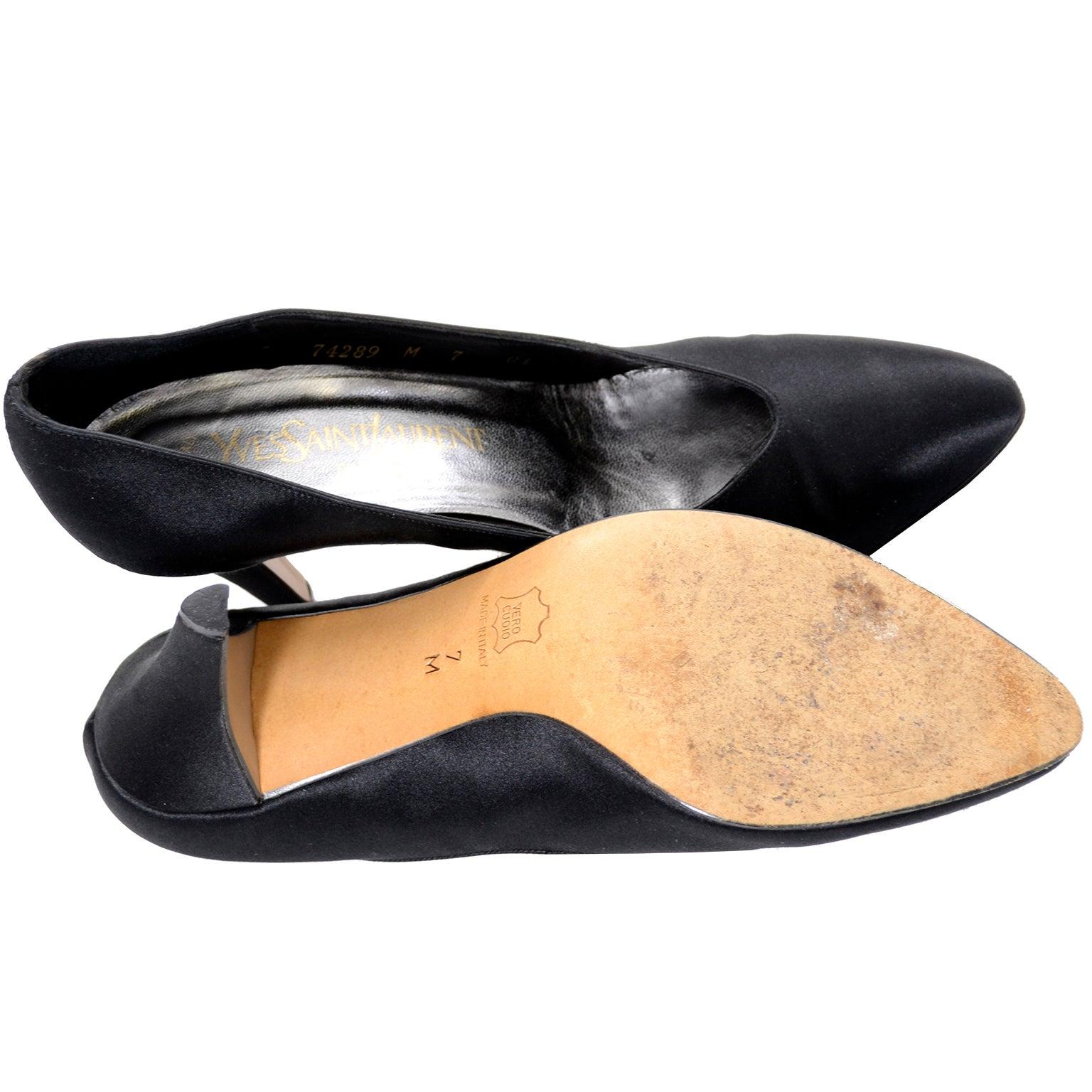 24e14a64a Yves Saint Laurent YSL Vintage Black Satin Shoes Heels 7M For Sale at  1stdibs