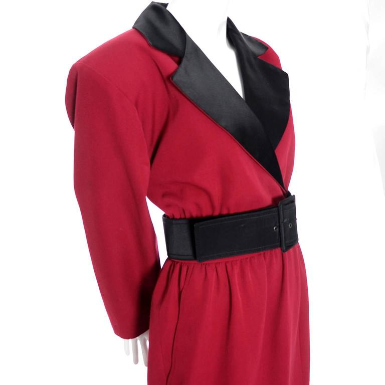Women's 1980s YSL Red Wool Vintage Dress With Black Satin Trim  For Sale