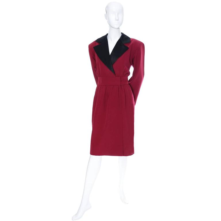 1980s YSL Red Wool Vintage Dress With Black Satin Trim  In Excellent Condition For Sale In Portland, OR