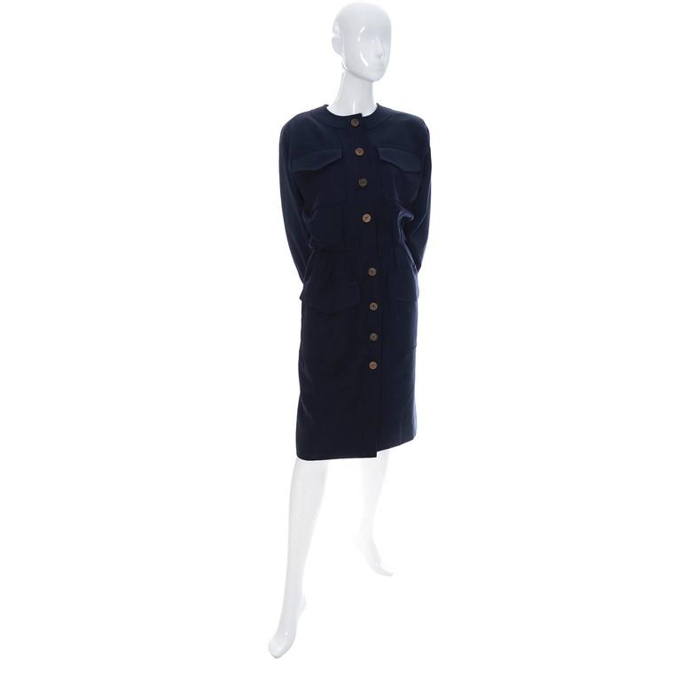 Vintage YSL Dress 1980s Navy Blue Wool Yves Saint Laurent Rive Gauche In Excellent Condition For Sale In Portland, OR
