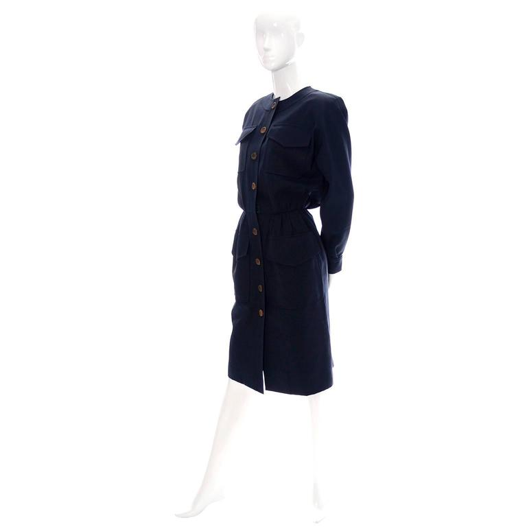 Women's Vintage YSL Dress 1980s Navy Blue Wool Yves Saint Laurent Rive Gauche For Sale