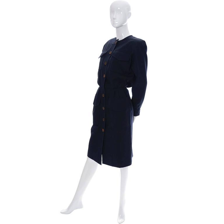 Vintage YSL Dress 1980s Navy Blue Wool Yves Saint Laurent Rive Gauche For Sale 1