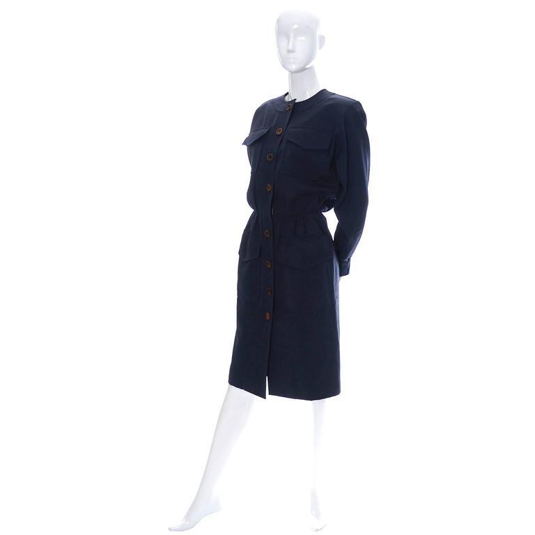 Black Vintage YSL Dress 1980s Navy Blue Wool Yves Saint Laurent Rive Gauche For Sale