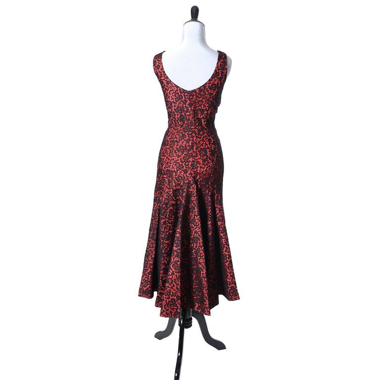 Brown 1950s Vintage Emma Domb Dress Red Black Lace Fish Tail Hem Dramatic For Sale