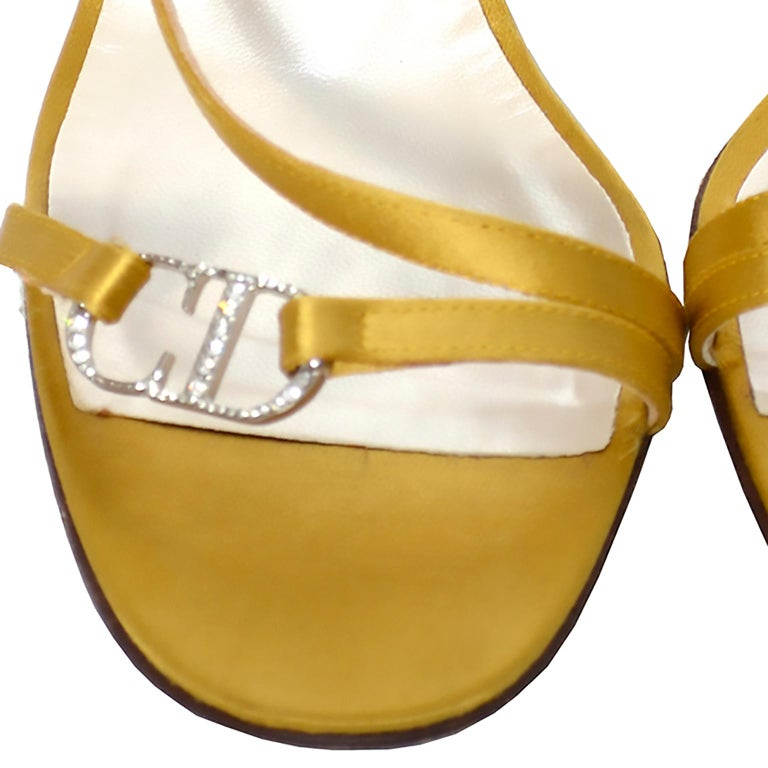 Gray Gold Vintage Christian Dior Shoes Ankle Strap Sandals Rhinestones CD Logo Clasp For Sale