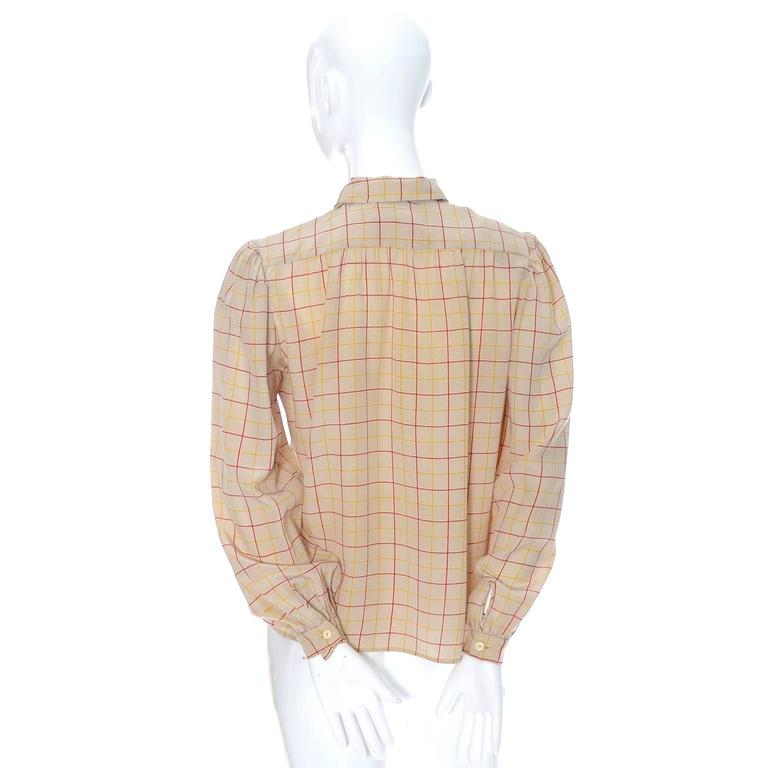 Valentino Vintage Blouse Silk Plaid Italy Bow Top 4