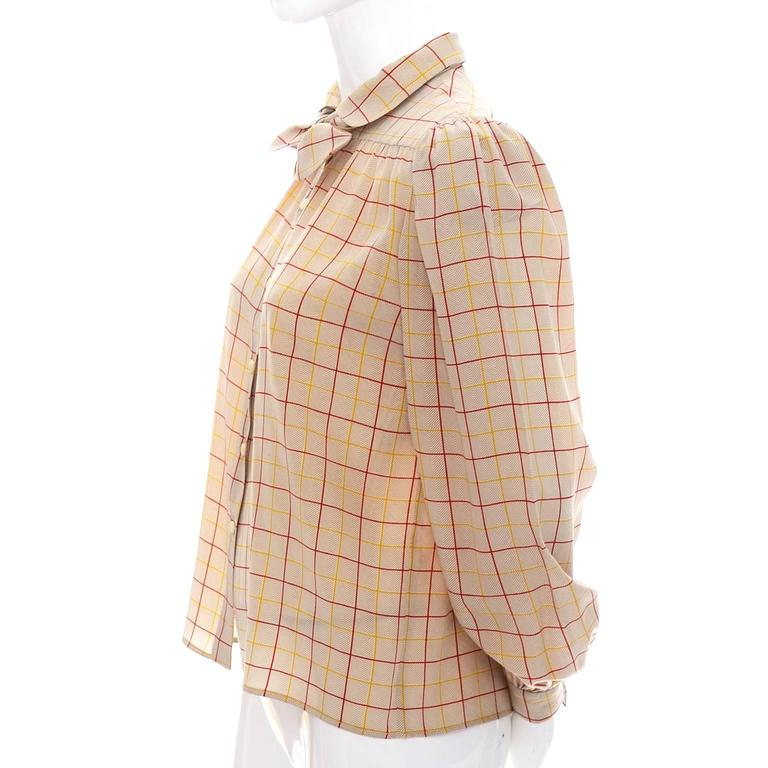 Beige Valentino Vintage Blouse Silk Plaid Italy Bow Top For Sale