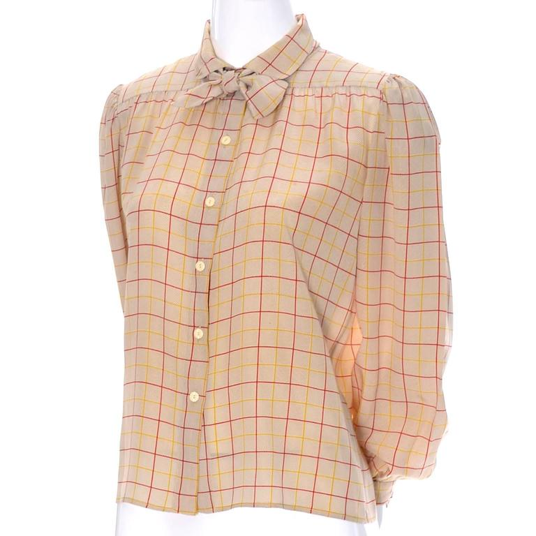 Valentino Vintage Blouse Silk Plaid Italy Bow Top For Sale 1
