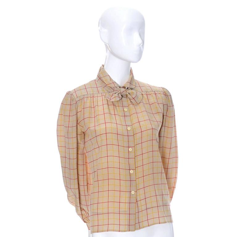 Valentino Vintage Blouse Silk Plaid Italy Bow Top 2
