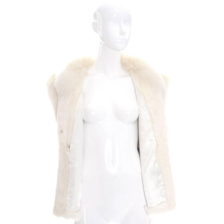 Vintage Ivory Winter White Rabbit Fur Vest Satin Lining 1980s  3