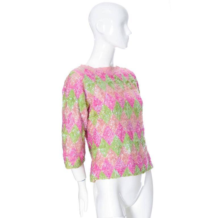 Beige 1960s Valentina Vintage Pastel Pink Green Lined Wool Sweater With Sequins For