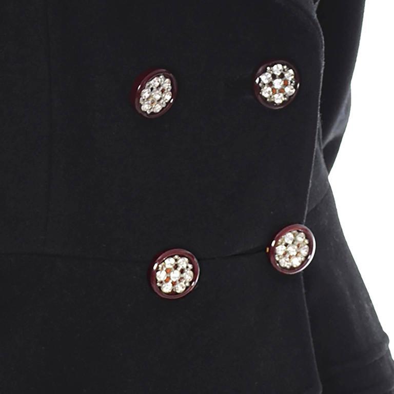 1940s Vintage Princess Coat Juilliard Virgin Wool Fit Flare Lined Rhinestones 3