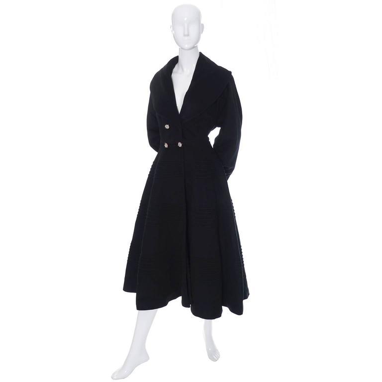 1940s Vintage Princess Coat Juilliard Virgin Wool Fit Flare Lined Rhinestones 2