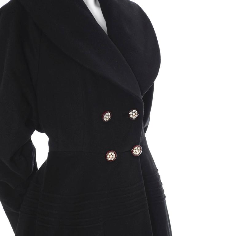 1940s Vintage Princess Coat Juilliard Virgin Wool Fit Flare Lined Rhinestones 4