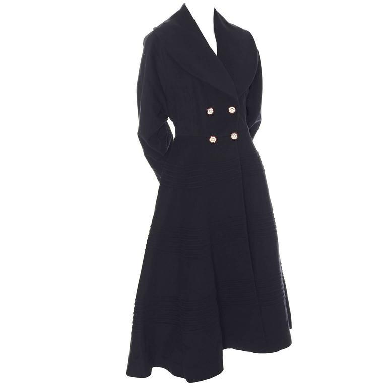 1940s Vintage Princess Coat Juilliard Virgin Wool Fit Flare Lined Rhinestones 1