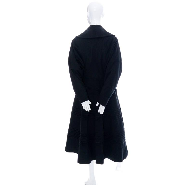 1940s Vintage Princess Coat Juilliard Virgin Wool Fit Flare Lined Rhinestones 6