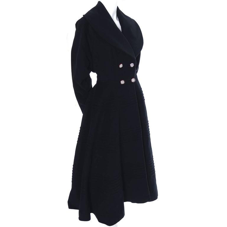 1940s Vintage Princess Coat Juilliard Virgin Wool Fit Flare Lined Rhinestones 5