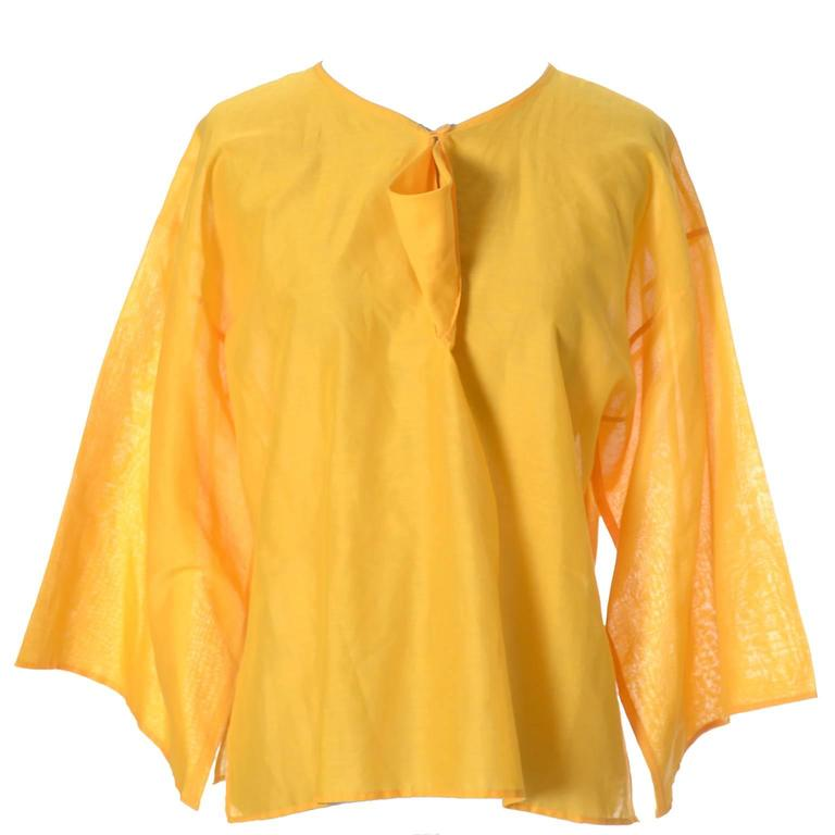 Yellow Jean Charles de Castelbajac Ko and Co France Vintage Boxy Top Shirt Henri Bendel For Sale