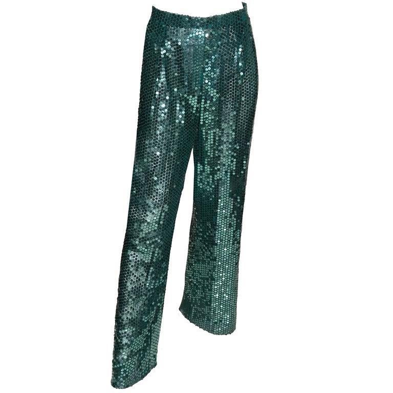 Blue Oscar de la Renta Green Sequin Pants & Keyhole Poet Blouse Evening Outfit  For Sale